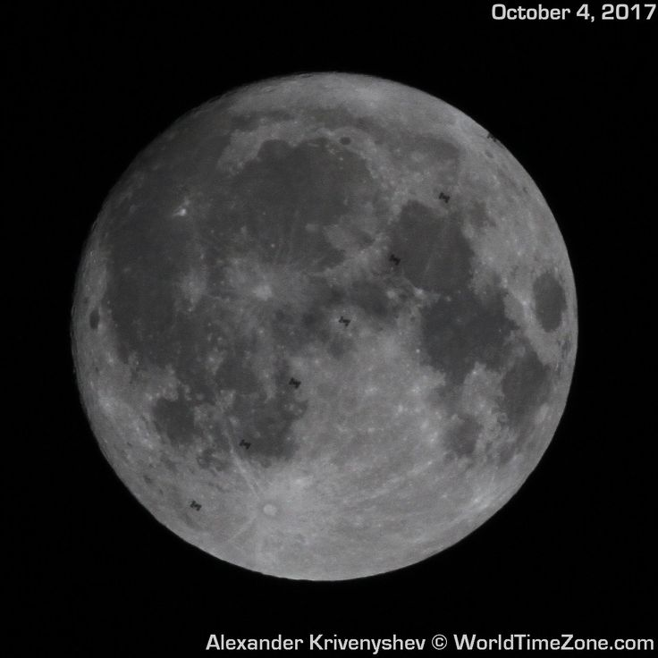 The International Space Station (ISS) crosses the face of the nearly full moon in a gorgeous composite image snapped by astrophotographer Alexander Krivenyshev.