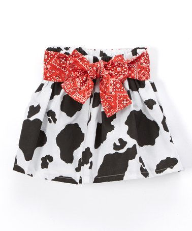 Look what I found on #zulily! White & Black Cow Bow Bandanna Twirl Skirt - Infant, Toddler & Girls #zulilyfinds