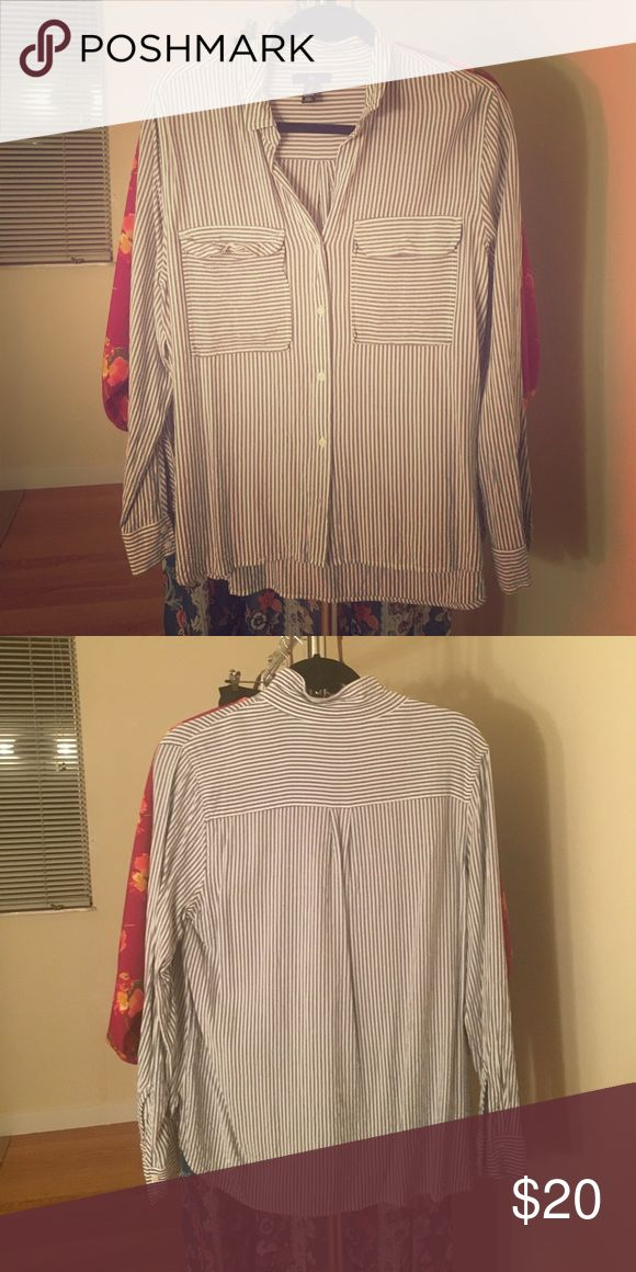 Striped Blue and White Blouse Gap striped blue and white button down Blouse GAP Tops Blouses