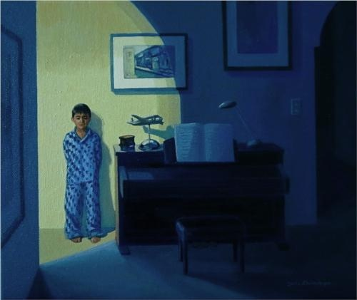 Piano at night - Jeffrey Smart. He manages to convey an eerie stillness in his tableau. It's like something is going to happen suddenly, but when? This creates tension in his work.