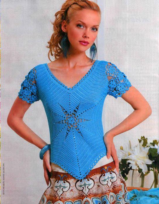 Stunning crochet blue blouse