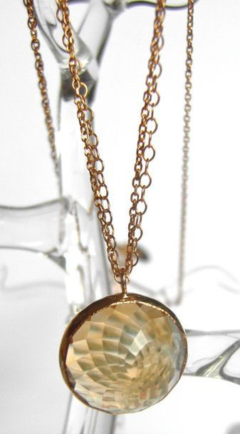 Golden Citrine Necklace with Layered 14k Gold Chain