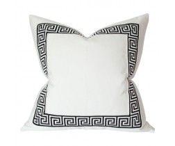 White with Black Greek Key Trim Pillow ariannabelle.com