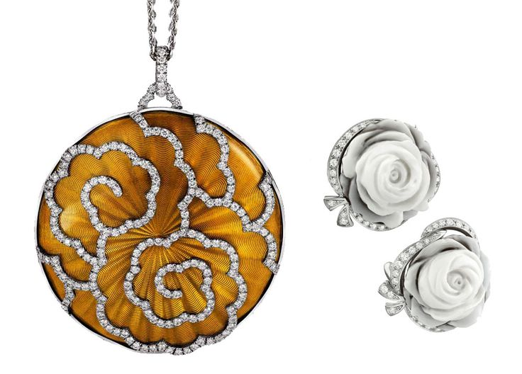 Left: Absolute eye-catcher: Saffron-coloured fire-enamelled pendant made of 750/-yellow-white gold with diamonds in playful lines, by Victor Mayer. Prices upon request. Photos: Wolfgang Bicheler. Right: Variable roses: Can also be worn as a pendant or broach, rose-shaped earrings, white gold with diamonds, Breguet, around EUR 13,400.00.