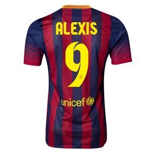 Barcelona 13/14 ALEXIS Authentic Home Soccer Jersey - FCBarcelinaShopUSA.com