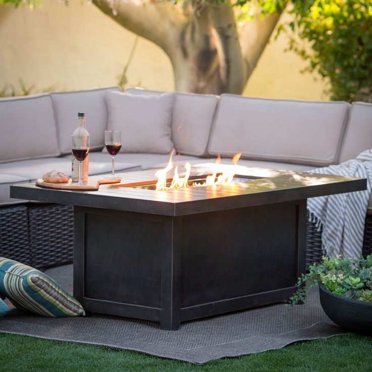 Napoleon Rectangle Propane Fire Pit Table   The Napoleon Rectangle Propane  Fire Pit Table Helps Make For A Cozy Outdoor Atmosphere With Interesting ...