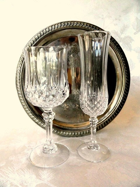 8 Vintage French Lead Crystal Glasses by Cristal d'Arques, Diamond Cut, Longchamp Pattern, 4 Goblets, 4 Flutes, Stemware, Wedding. $50.00, via Etsy.