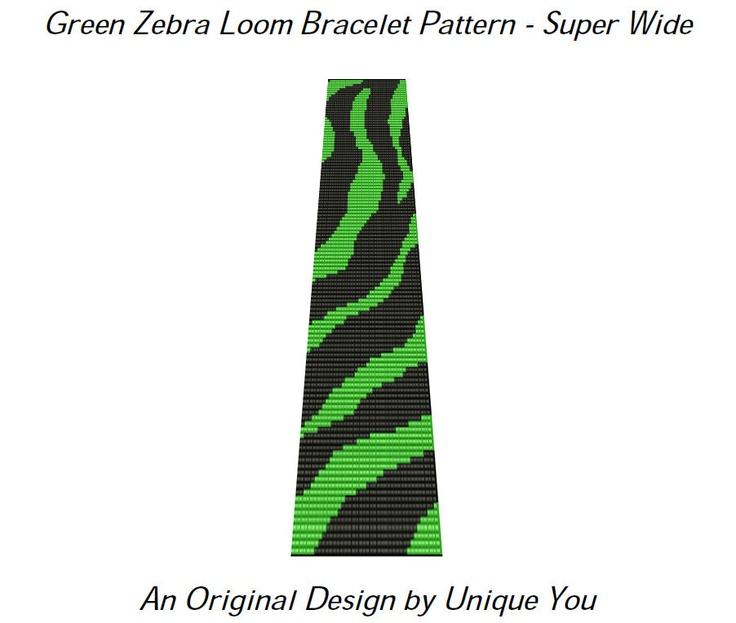 BEADING PATTERN Loom Bracelet Square Stitch Bracelet Seed Bead Cuff Green Zebra Super Wide (Sale - Buy 2 Patterns, Get 3rd at No Cost). $6.50, via Etsy.