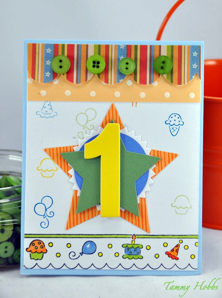 1st Birthday card by Tammy Hobbs @ Creating Somewhere Under The Sun for DeNami Designs Birthday Blog Hop