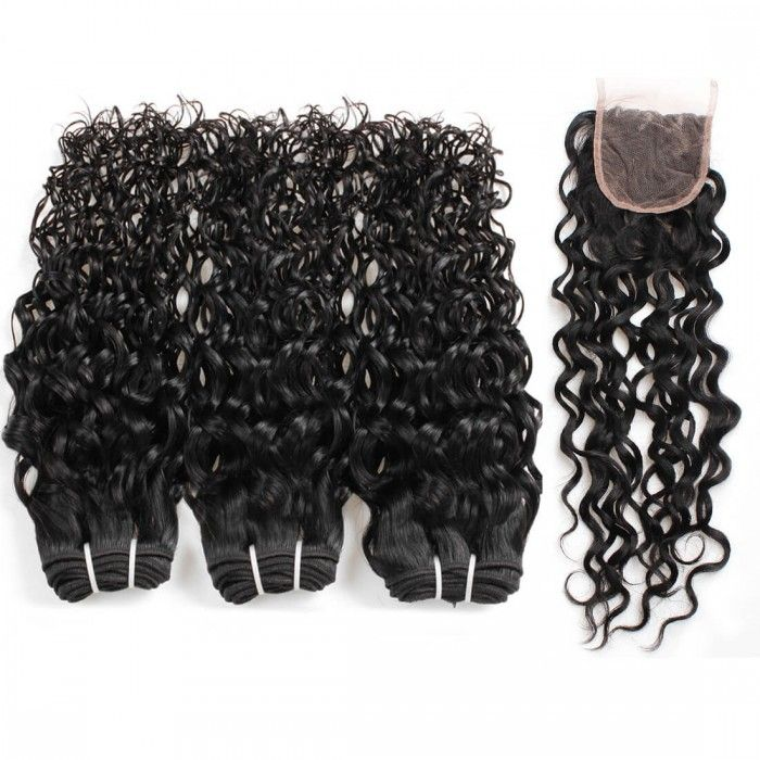 Peruvian Water Wave Hair 3 Bundles With Closure Wet And Wavy Wave