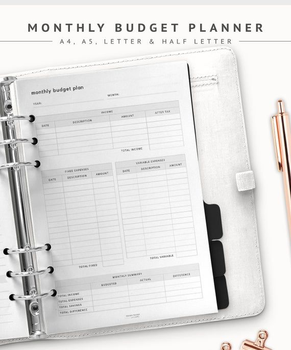 Monthly Budget Planner Printable Inserts, Budget Planner
