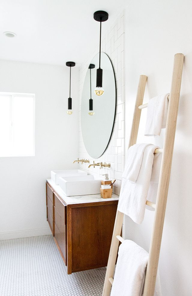 bathroom re-fresh DIY towel ladder // sarah sherman samuel
