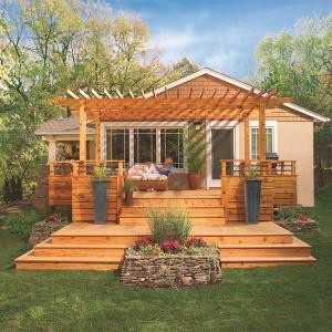 Idea for the deck, build the arbor over the hot tub and turn the front planter into a firepit
