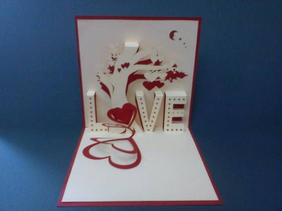 white-and-red-color-Handmade-3D-Card #3dcards #cards #heartshaped #Love www.3dcards.com.au