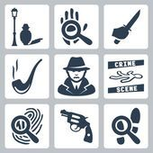 Vektorové ikony detektivní sada: muž pod pouliční lampu, Lupa a otisky rukou, nůž v ruce, dýmka, detektiv, místo činu, Lupa a otisků prstů, revolver, Lupa a stopy — Stockový vektor