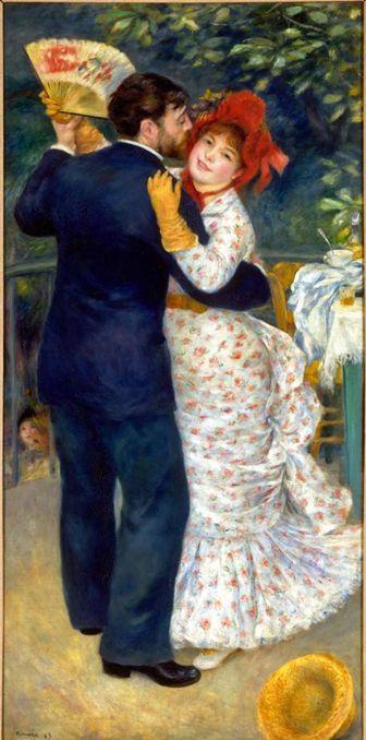 <시골 무도회 (Dance in the Country)>    피에르 오귀스트 르누아르 (Pierre Auguste Renoir) 프랑스 1841-1919  특징:  유화,180 x 90 cm, 인상주의 이 작품은  <도시의 무도회>와 비슷한 시기인 1883년에 제작되었으며 같이 전시되기도해하여두 작품의 연관성은 매우 깊다. 이 작품에서의 시골의 연인은 식사를 끝마치지도 않은 채 충동적으로 춤을 즐기는 열정을 보여주고 있다. 이는 <도시의 무도회>에서 사회적 예식에 참여하기 위해 아무 즐거움 없이 춤을 추는 도시의 연인들과 매우 대조된다. 이 작품에서도 역시 사랑하는 여자를 사랑스럽게 바라보는 남자의 눈빛이 매우 눈에 띈다.