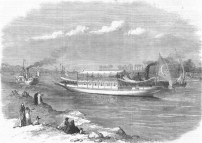 EGYPT: Dahabieh, or Nile boat, for the Prince of Wales, antique print, 1869