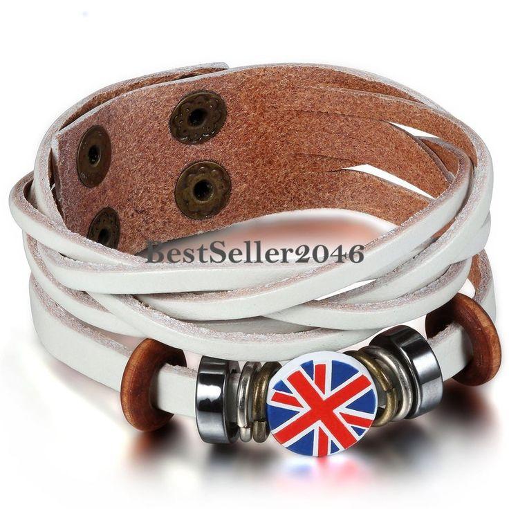 Leder Armband UK Britische Flagge Ringe Kreise Nieten Geflochten Armreif