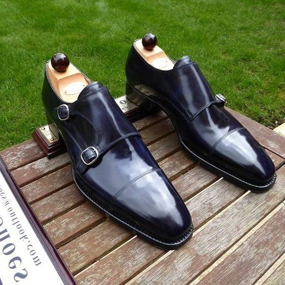 Handmade Dress shoes Blue Leather Shoes Formal Shoes Men Style - Dress/Formal