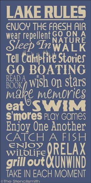 1719 - LAKE RULES-lake rules stencil subway house typography word art enjoy the fresh air boating fishing camping