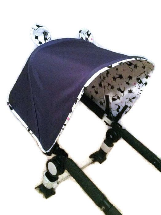 This Funny Cats Canopy for the Bugaboo Cameleon Stroller is hand made with love from cotton and stroller polyester fabric. Dark grey with white
