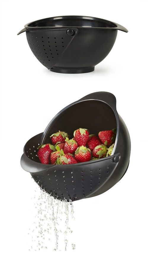 2 in 1 Combination of Bowl and Strainer. http://geekandhip.com/product/umbra-rinse-bowl-and-strainer-black/
