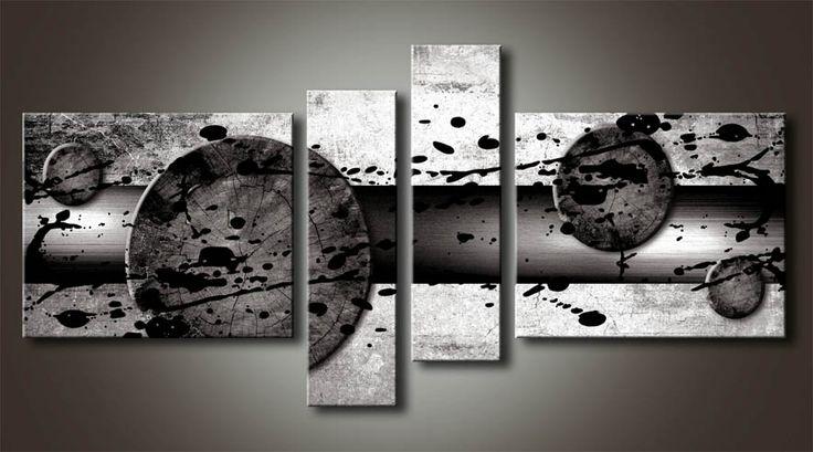 Al mb 1 cuadro abstracto con salpicadura blanco y negro - Cuadro blanco y negro ...