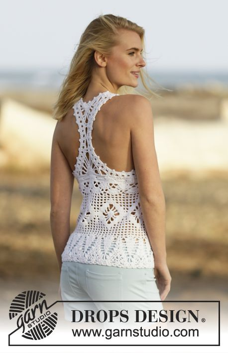 """Crochet DROPS top with fans and star pattern in """"Cotton Light"""". Size: S - XXXL. ~ DROPS Design ♥️LCT-MRS♥️ with diagram."""