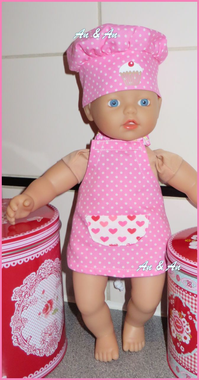 keukenschort en koksmuts voor Little Baby Born www.poppenmode.com