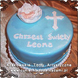035. Niebieski tort na chrzest święty Leona z krzyżem. Blue cake for Leon's baptism with a holy cross.