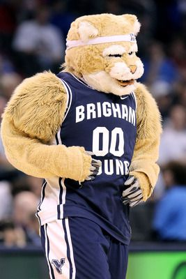 OKLAHOMA CITY - MARCH 18:  Cosmo the mascot of the BYU Cougars performs against the Florida Gators during the first round of the 2010 NCAA men�s basketball tournament at Ford Center on March 18, 2010 in Oklahoma City, Oklahoma.  (Photo by Ronald Martinez/