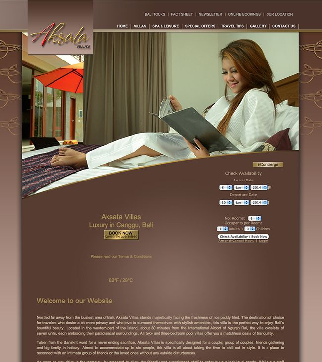 Website designed and developed for Aksata Villas Bali, http://aksatavillas.com/ Created and hosted by Coffs Harbour Website Design http://coffsharbourwebsitedesign.com.au/