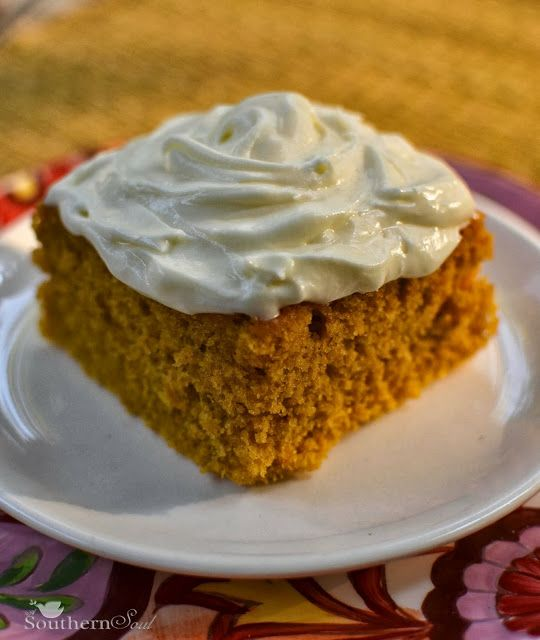 Pumpkin Cake Squares with Icing | A Southern Soul - DELICIOUS! Perfect for fall, though I tweaked the frosting to have more cream cheese and less sugar. Easy and yummy!
