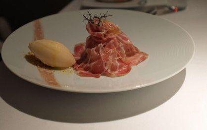 Copa with melon and shrimp a la planca