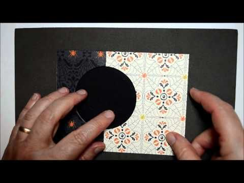Circle Card Thinlits - here's my video for my Halloween Card on how to make a 5 1/2 x 4 1/4 (horizontal orientation card) using the new card thinlits and how to add a swinging piece to hold it shut!  I also show how I made the who card including all supplies and cutting.