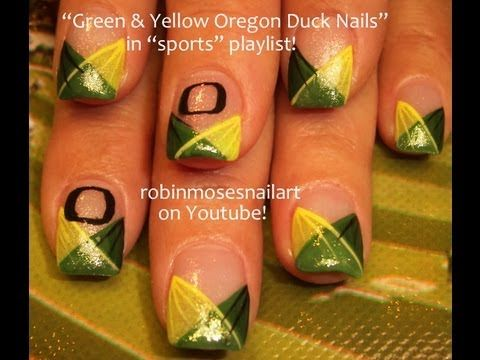 Cute Oregon Duck Nail Art  Would be better if they were Cougs, exceptional if they were huskies.