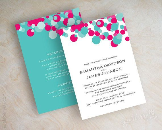 pink and turquoise wedding invitations - Google Search