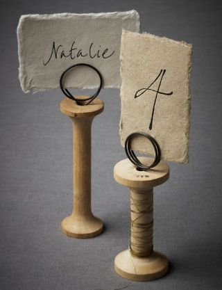 bhldn place card holder wooden spool