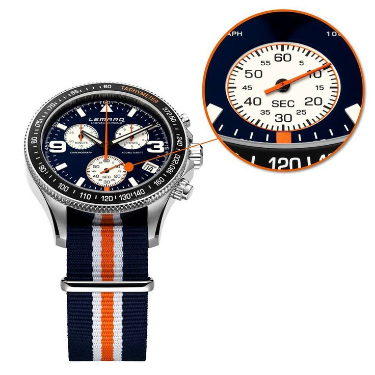 The Monza Chrono features a Swiss made ETA chronograph movement. See more @ http://www.lemarqwatches.com/