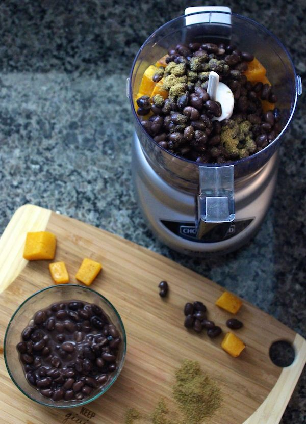 Vegetarian Butternut Squash Black Bean and Cumin Puree recipe for baby food.