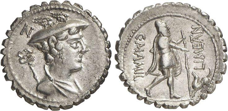 RÖMER RÖMISCHE REPUBLIK RÖMISCHE REPUBLIK NACH 211 V. CHR C. Mamilius Limetanus, 82 v. Chr. Denar (3,95g). Mzst. Rom. Vs.: Drapierte Büste des Merkur mit Caduceus, dahinter Kontrollmarke. Rs.: Odysseus n. r. stehend mit Stab und eine Hand nach seinem Hund Argos ausstreckend, r. LIMETAN, l. C MAMIL. Cr. 362/1
