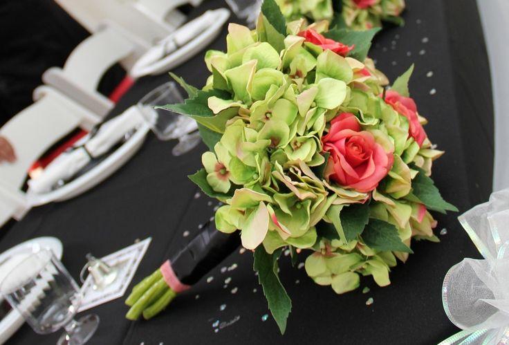 Green Hydrangea Wedding Bouquets | Green Hydrangea and Guava Wedding, Bridesmaid's Bouquet - Jamie's ...