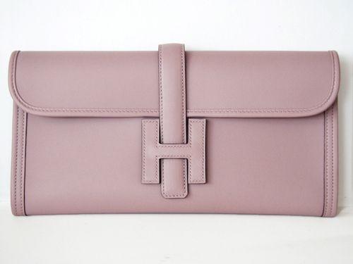 Hermes Jige Elan 29cm Mauve Glycine Clutch Bag | MALLERIES