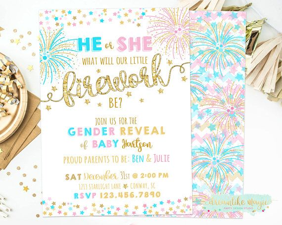 New Years Gender Reveal Invite New Year Firework Gender Reveal Firecracker Pink Or Baby Reveal Invitations Gender Reveal Invitations Firework Gender Reveal