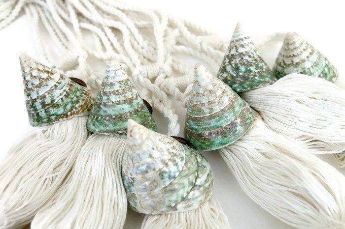 Two nautical curtain tie back, curtain holdback, beach decor, seashell curtain tiebacks, pyramid shells, green home decor, drapery tieback by DeMamora on Etsy https://www.etsy.com/listing/224094031/two-nautical-curtain-tie-back-curtain