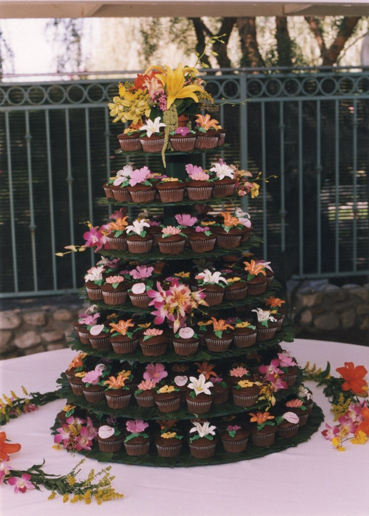 Cupcake Wedding Cake For A Hawaiian Themed Wedding My Cakes Pinterest Themed Weddings