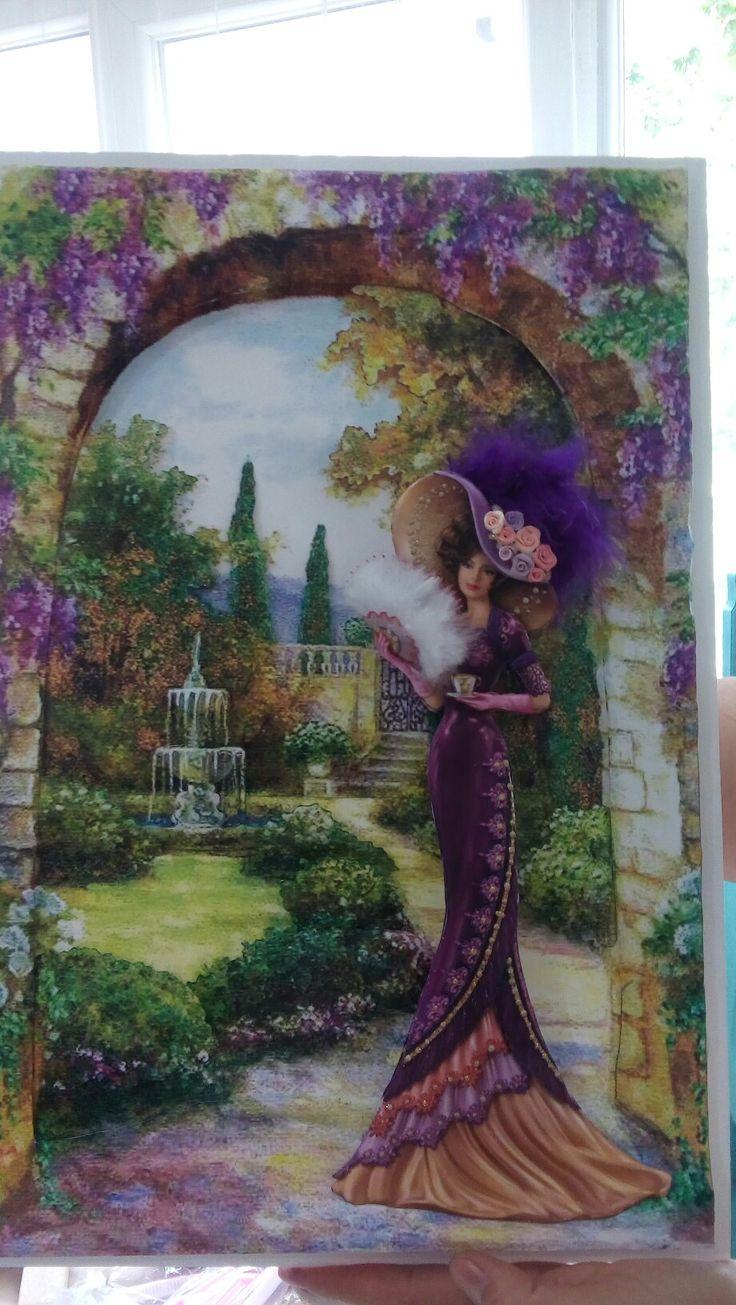 Mürşide hanımın kağıt rölyef ile bahçedeki kadın çalışması-Sümbül ELDEK
