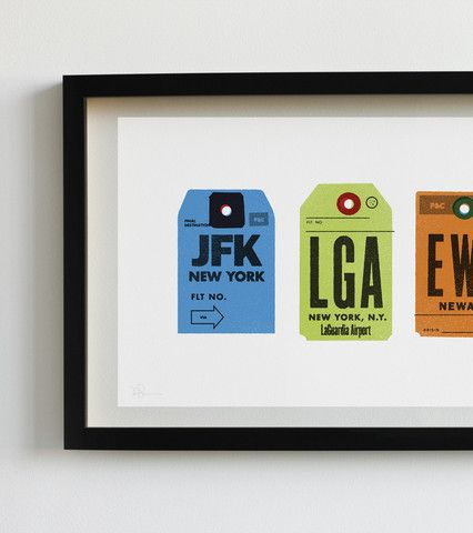 Great prints and t-shirts with a travel theme, like these New York airport tags.
