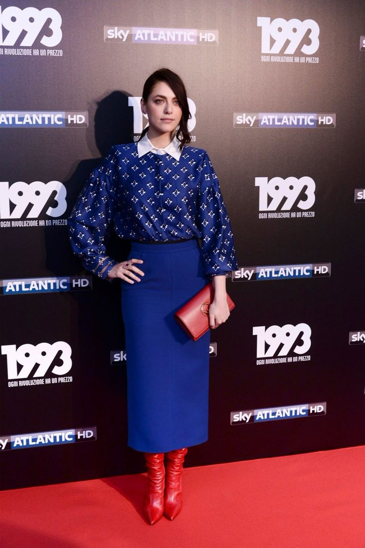 Miriam Leone in a full Fendi look for the premiere of the 1993 Sky Series