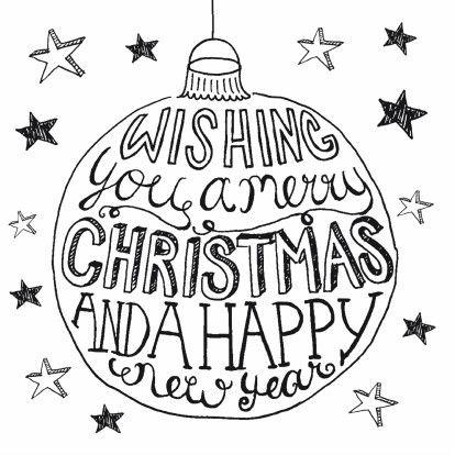 Een mooie, hippe kerstkaart met een kerstbal, sterren en handlettering in zwart-wit!